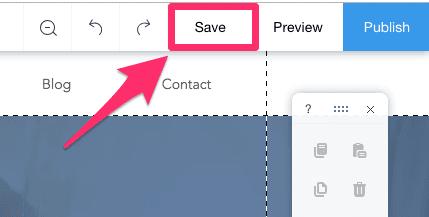 Wix website editor save button