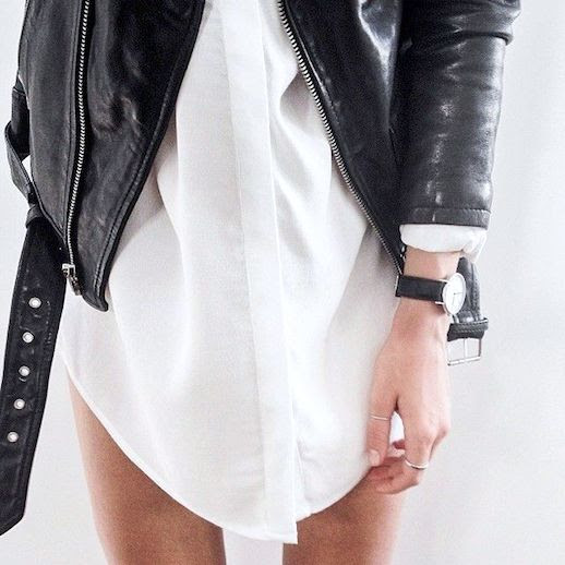 Le Fashion Blog Black Moto Jacket White Shirt Dress Spring Summer Style Simple Black Watch 2014 Via La Cool And Chic Tumblr photo Le-Fashion-Blog-Black-Moto-Jacket-White-Dress-Spring-Summer-Style-2014-Via-La-Cool-And-Chic-Tumblr.jpg
