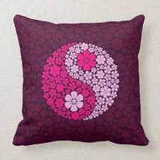Pink Wild Flowers Yin Yang Throw Pillows