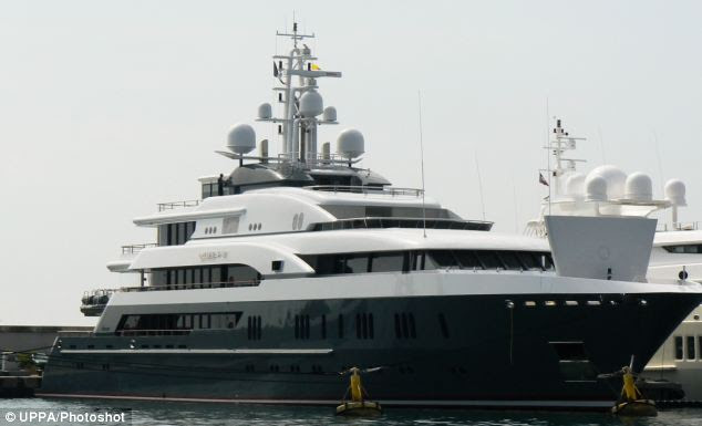 The festivites included a party on the jetty beside Oleg Deripaska's yacht, the Queen K