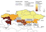 Thumbnail of Density of camelids in Kazakhstan (extracted from the Ministry of National Economy of the Republic of Kazakhstan Committee on Statistics, Department of Statistics; http://www.stat.gov.kz) and specimen collection for detection of Middle East respiratory syndrome virus, by species and region, 2015.