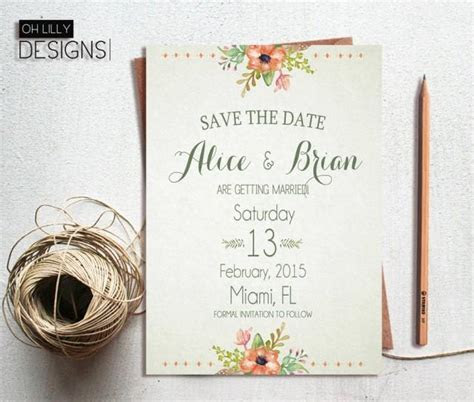 Rustic Save The Date Printable, Save The Date Floral, Save