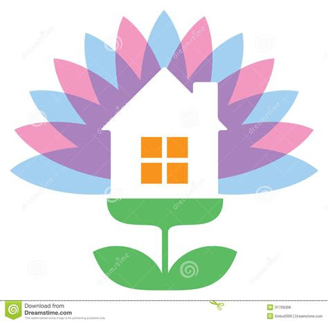 flower house logo stock vector illustration  house