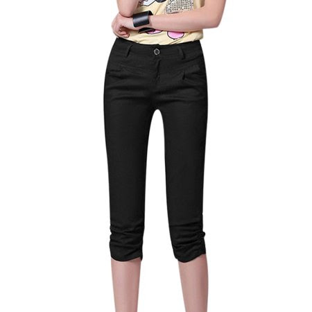 Women's Mid Waist Zip Fly Button Closure Shirred Sides Capri Pants Black (Size M \/ 8)