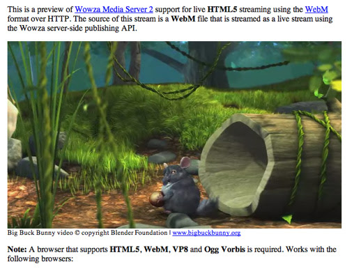 Wowza's Live HTML5 Video Demo