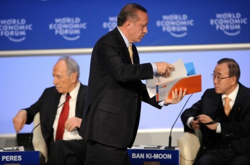 """The Case for Middle East Peace"""" on the second day of the World Economic Forum in Davos on January 29, 2009.   AFP PHOTO FABRICE COFFRINI (Photo credit should read FABRICE COFFRINI/AFP/Getty Images)"""