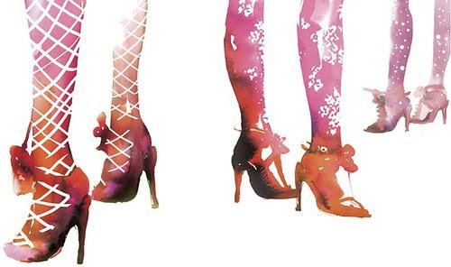 stinapersson, portfolio, watercolor, shoes, pink, beatiful, illustration
