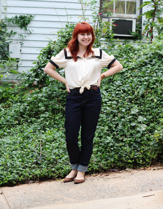 Sailor Top and High Waisted Skinny Jeans