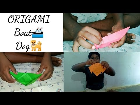 Origami boat and dog