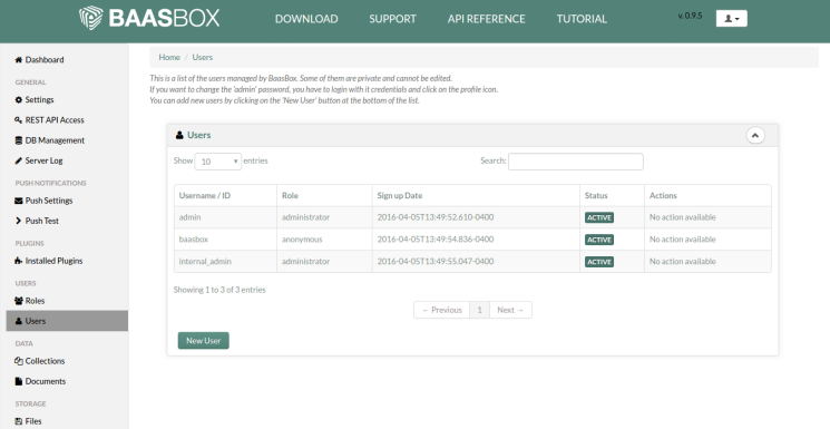 BaasBox Admin Console - New User
