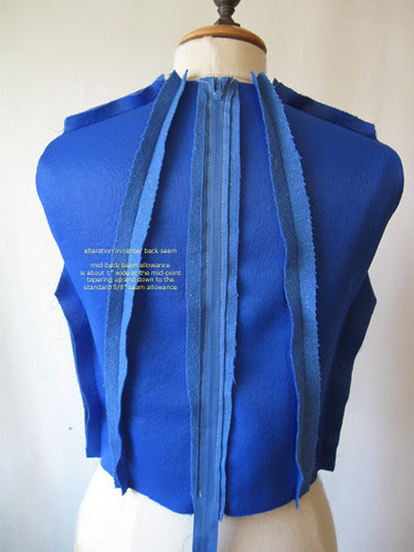 Blue vintage inside back bodice