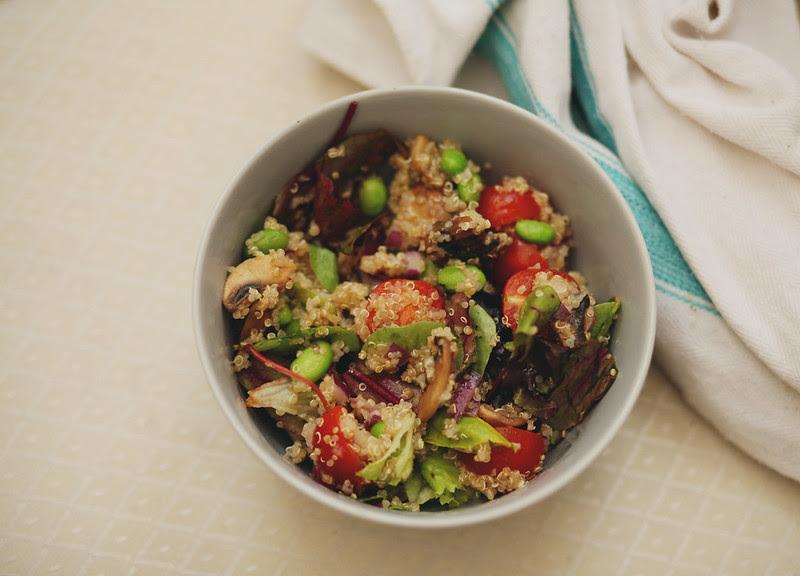 Quinoa salad with cherry tomatoes, edamame and mashrooms