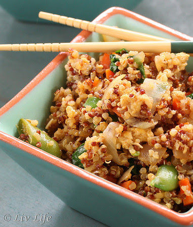 Asian Fried Quinoa in blue bowl with chop sticks