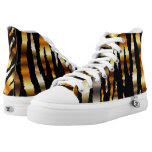 Gold Metal Zebra Animal Stripe Patterns Printed Shoes