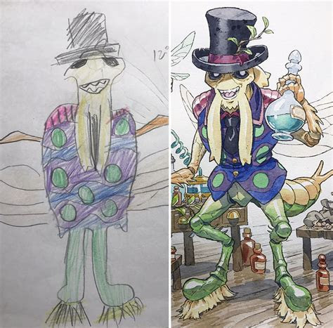 dad turns  sons doodles  anime characters