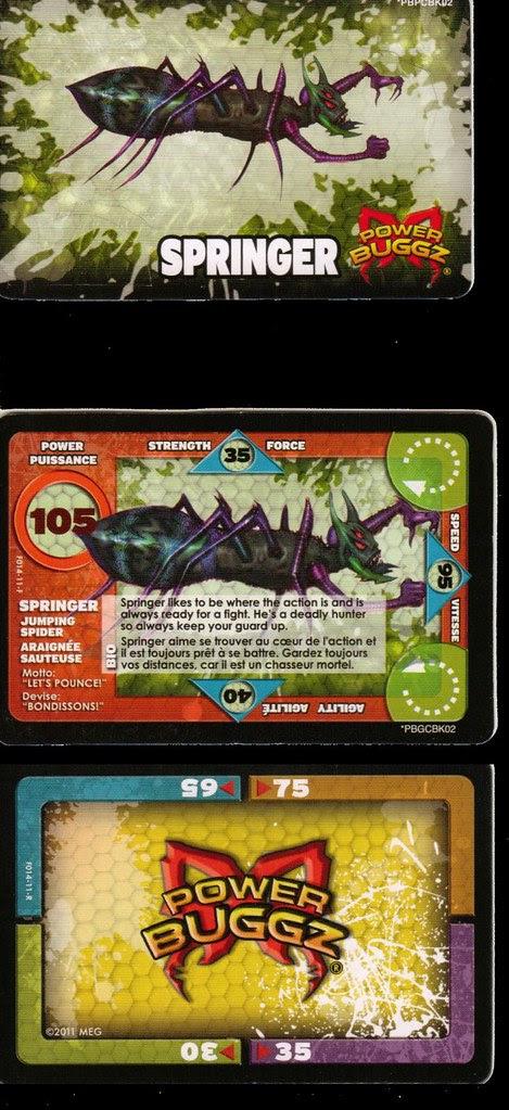 power buggz springer spider game cards