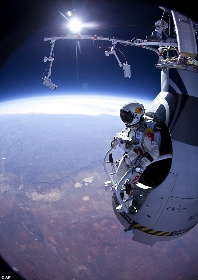 New heights: Felix Baumgartner is practicing for his upcoming record-breaking jump from 23 feet in the air