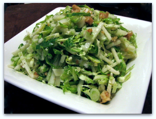 Brussels Sprouts Slaw with Apples & Walnut