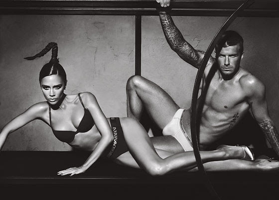 victoria beckham and david beckham together for armani underwear