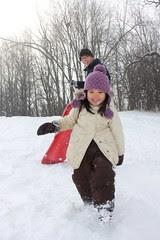 sledding (on slidey mountain!)