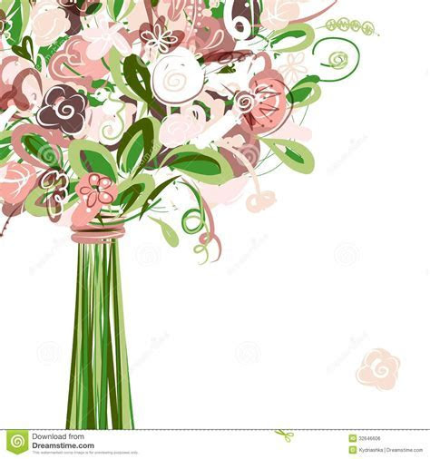 Wedding Card With Floral Bouquet For Your Design Royalty