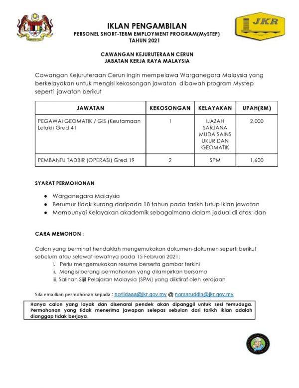 Iklan Jawatan Jabatan Kerja Raya Malaysia • Portal Kerja ...
