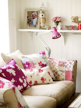 pink shabby eclectic living room