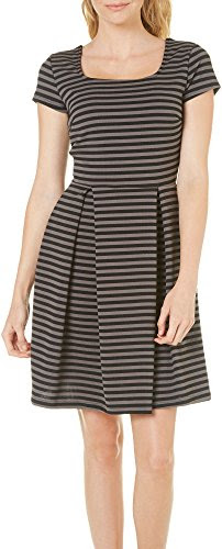 Gilli Womens Stripe Fit & Flare Dress Large Grey/black