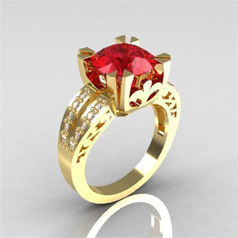 Modern Vintage 14K Yellow Gold 3.0 Carat Ruby Diamond
