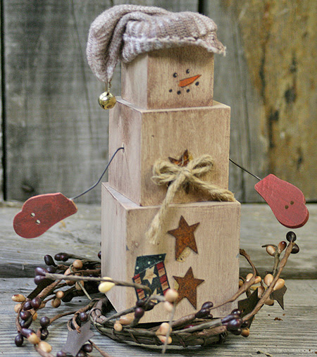 DIY Primitive Decor – Create your own Primitive Snowman out of Wood