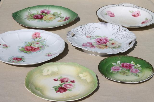 antique china plates, green
