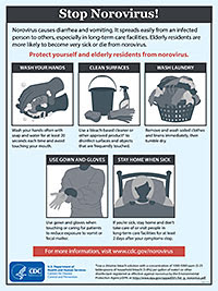 Image shows that you can protect yourself and elderly residents from norovirus by washing your hands, disinfecting surfaces with a bleach-based cleaner, washing soiled laundry immediately and tumbling dry, using a gown and gloves when caring for patients, and staying home when you're sick.