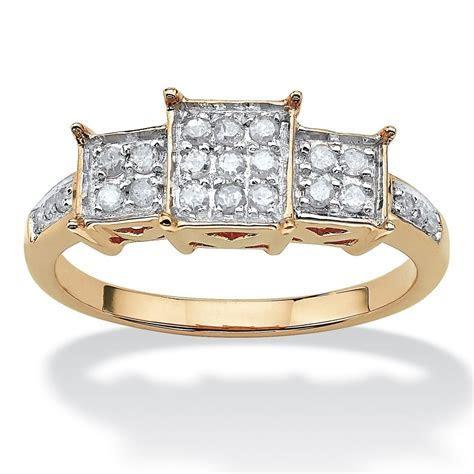 WOMENS 10K YELLOW GOLD DIAMOND PROMISE ENGAGEMENT RING