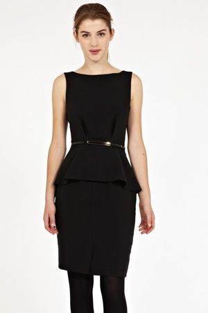 Oasis Belted Peplum Dress