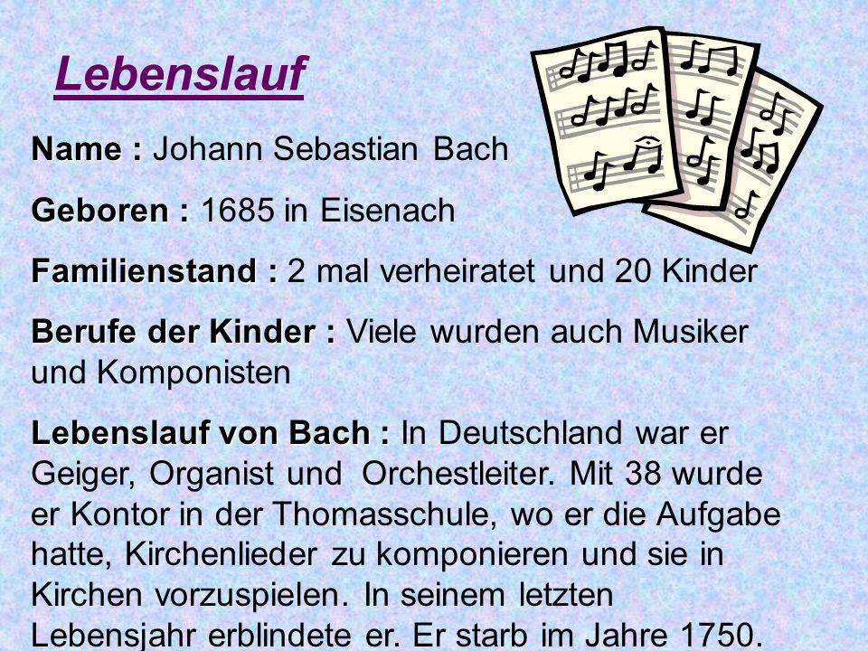 Johann Sebastian Bach Lebenslauf