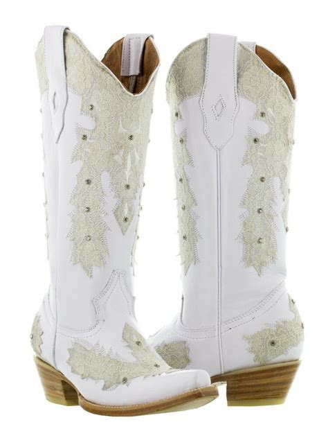womens white leather western wear wedding cowboy boots