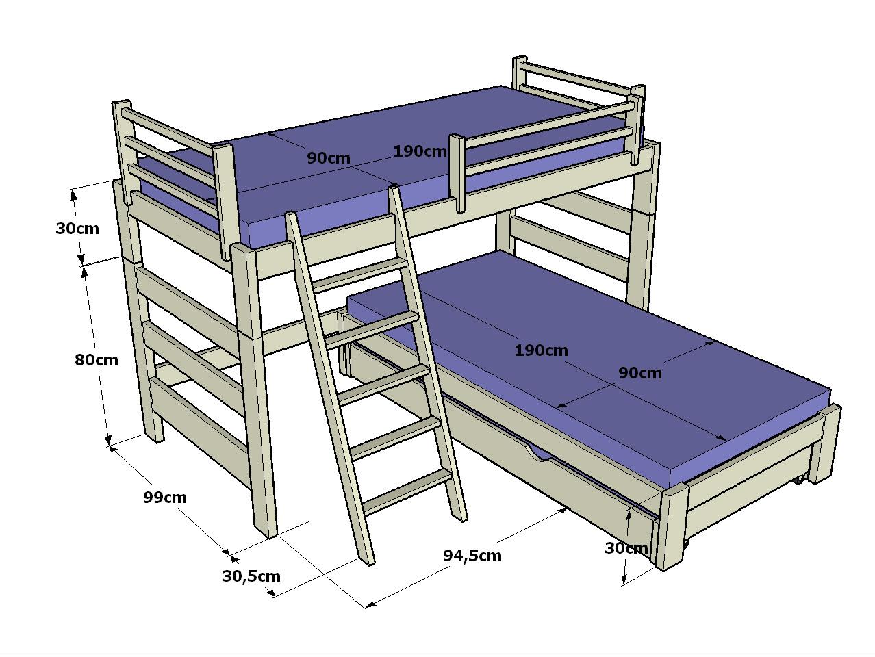 Dormitorio muebles modernos medidas litera - Medidas camas infantiles ...