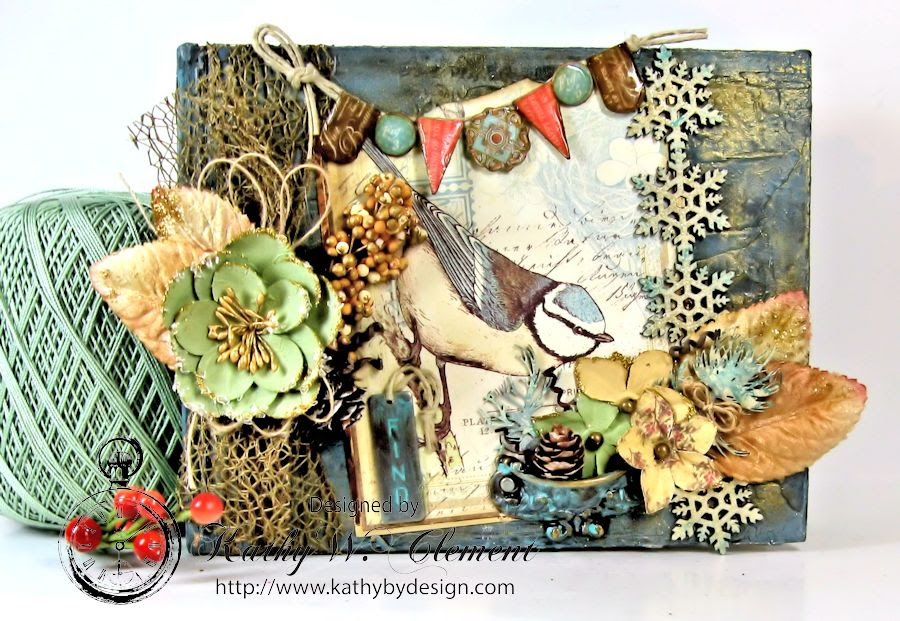 Kathy by Design Winter Bird Altered Book for Gypsy Laser Cuts 01