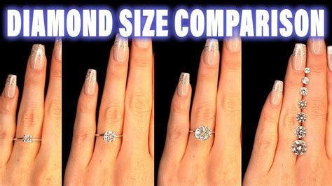 Diamond Size Comparison on Hand Finger Carat 1 2 3 4 0.5