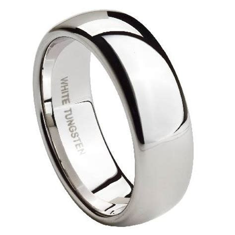 Men's Wedding Band in White Tungsten, Classic Polished