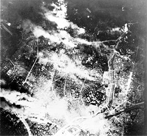 Aerial view of Tokyo firebombing