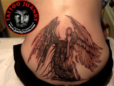 Grey Ink Angel And Black Devil Tattoo On Back Body