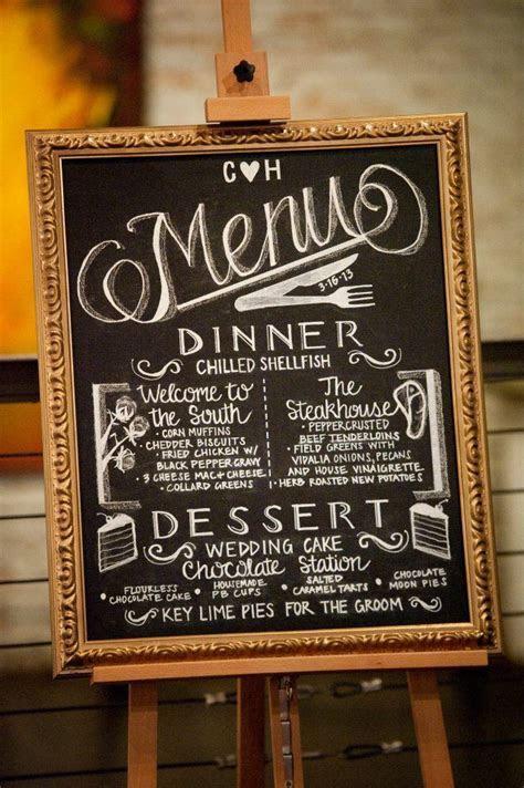 Hand drawn wedding menu on chalkboard.   Wedding Decor