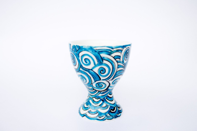 Egg Cup - Retro Blue - hand painted ceramic - CraftUnikat