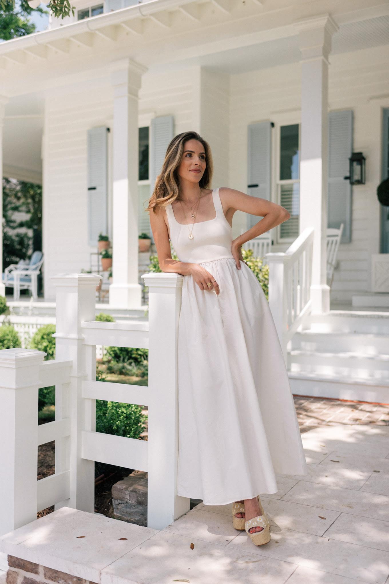 white sleeveless summer dress