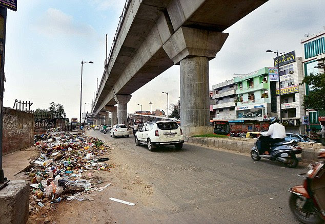 Garbage strewn on road no 57, Krishna Nagar, New Delhi