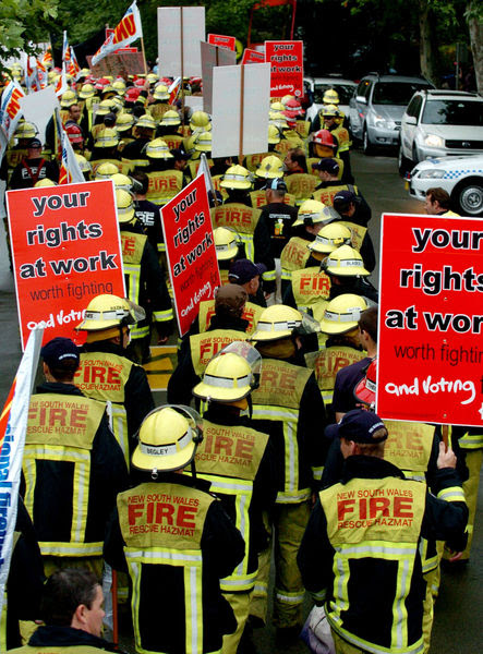 NSW firefighters protest against the federal government's industrial relations laws