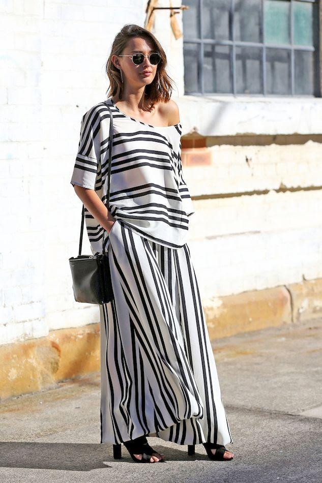 Le Fashion Blog Eleanor Pendleton Australian Street Style Striped Top Matching Stripe Pants Separates Under 100 Budget Friendly Via Popsugar