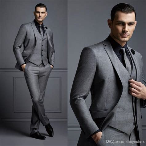 2018 New Fashion Handsome Dark Gray Mens Suit Groom Suit