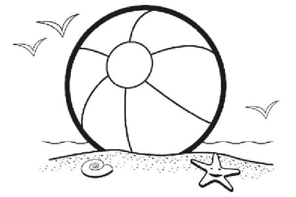 Beach black and white beach ball beach scene clip art coloring pages panda